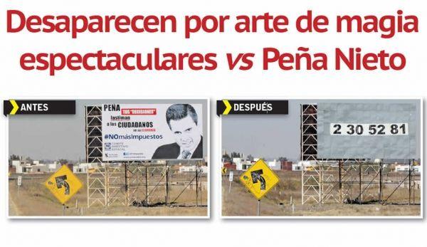 Desaparecen por arte de magia espectaculares vs Peña Nieto