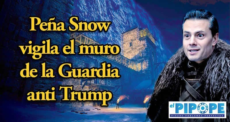 Peña Snow vigila el muro  de la Guardia anti Trump