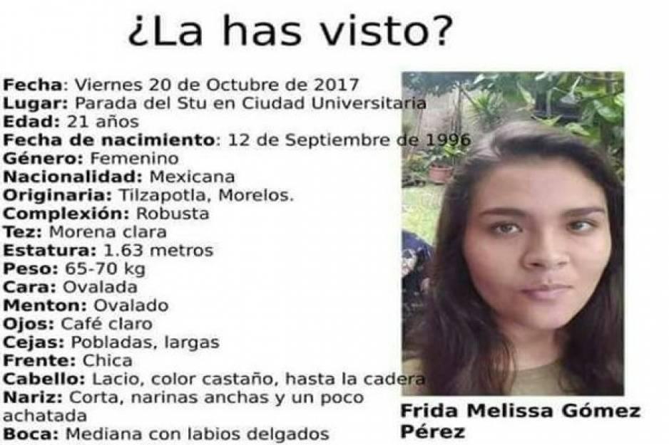 ¡Otra desaparecida de la BUAP! comparte y ayuda a encontrar a Frida Melissa
