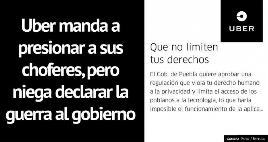 UBER: Nuevas regulaciones imposibilitan operar en Puebla