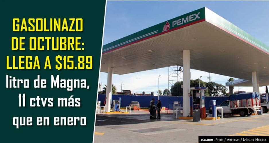 Sigue subiendo la gasolina: Magna ya llego a 15.89