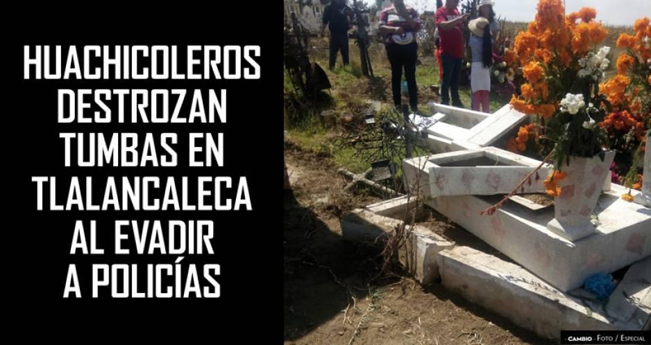 Acusan a huachicoleros de hacer destrozos en panteón de Tláloc