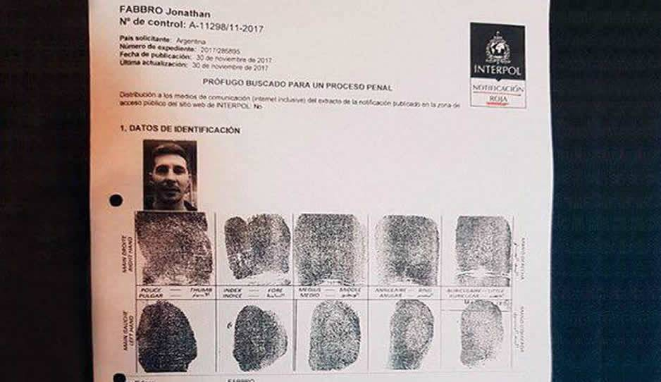 Ordenan la captura internacional del futbolista Jonathan Fabbro