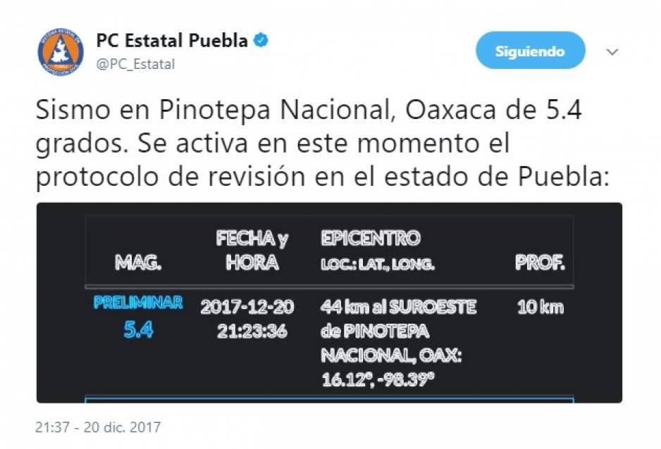 No hay daños tras temblor en Oaxaca, México