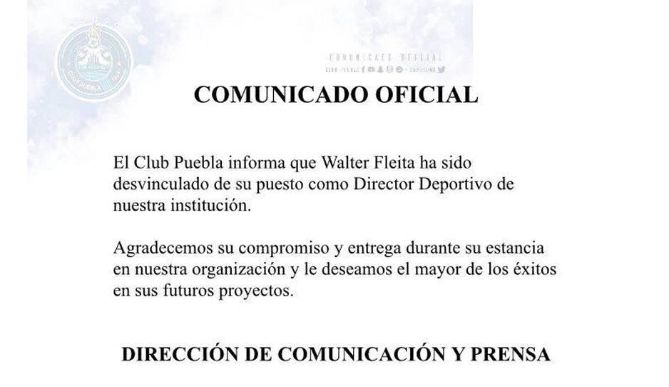 Club Puebla despide a Walter Fleita como director deportivo