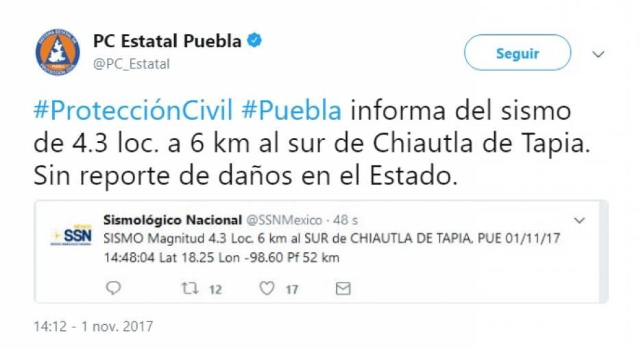 Se registra sismo en Puebla de 4.3; no hay daños
