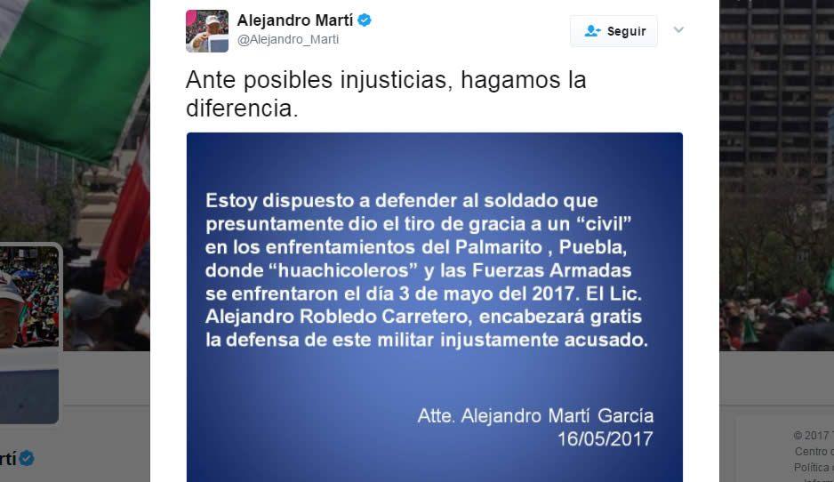 Defiende Martí a militar de Palmarito