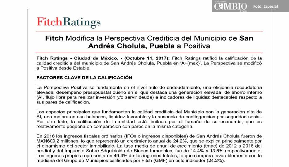 Fitch Ratings confirma calidad crediticia en San Andrés Cholula