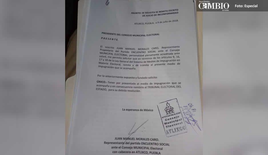 PES impugna la elección de Atlixco por supuesto fraude