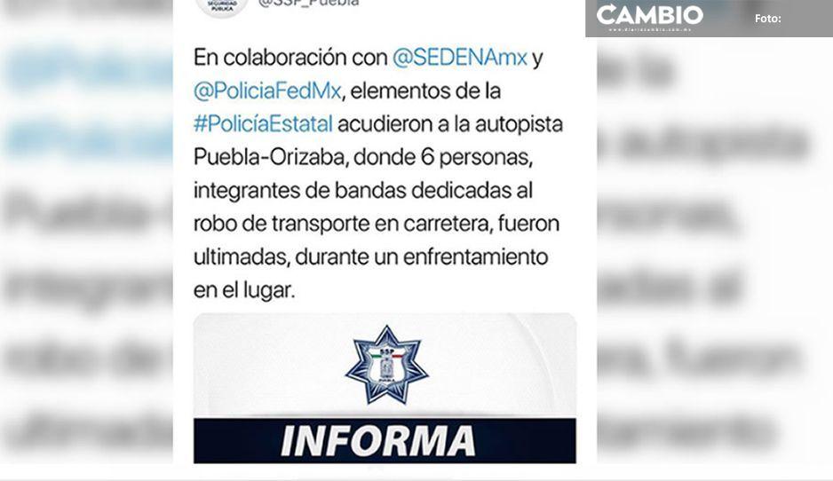 Asegura SSP que son seis ejecutados en Esperanza, eran asaltantes de trasporte de carga
