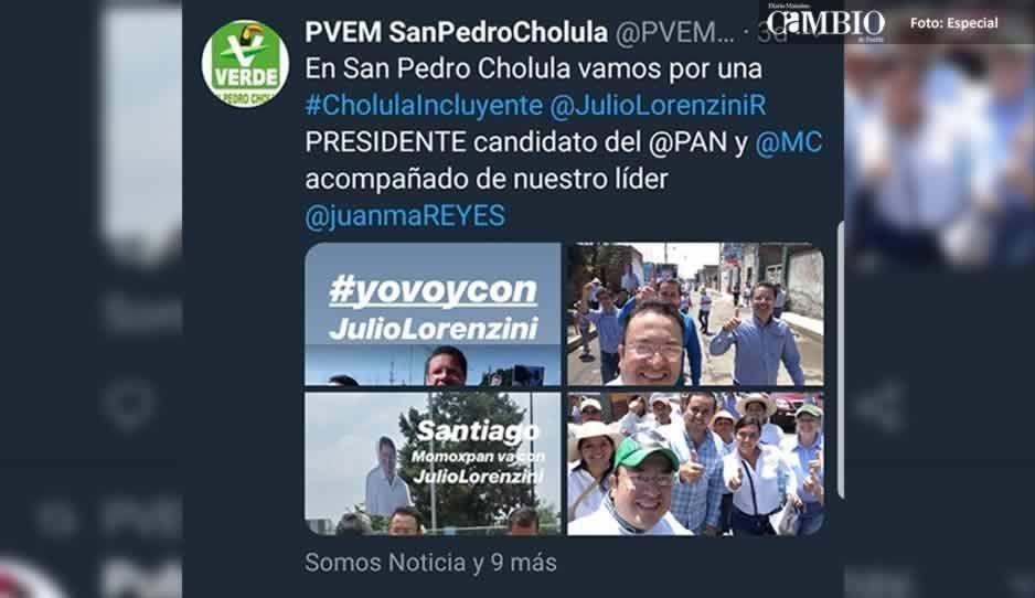 Desertor del PVEM sigue utilizando el nombre de la institución para promocionar al candidato de MC