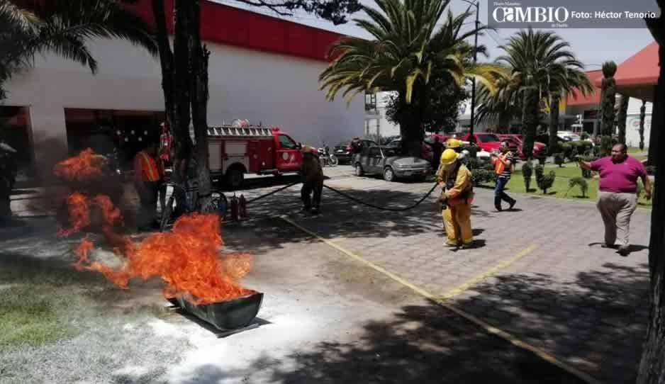 Con un de conato de incendio se realiza marcosimulacro en Texmelucan