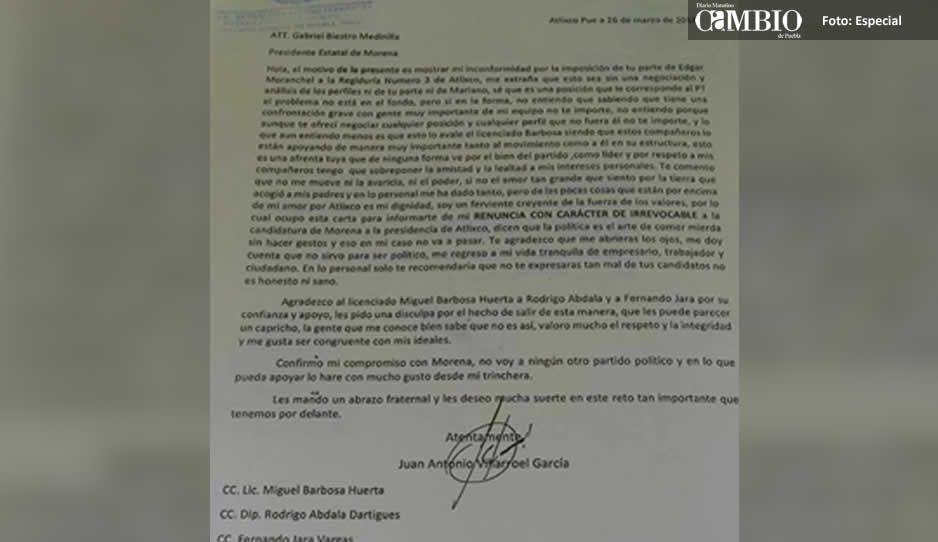 Eleazar en su desesperación muestra renuncia firmada por Villarroel