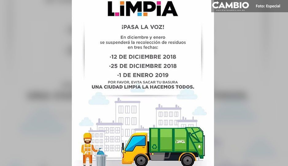 ¡Toma tus precauciones! No habrá recolección de basura el 12, 25 de diciembre y 1 de enero