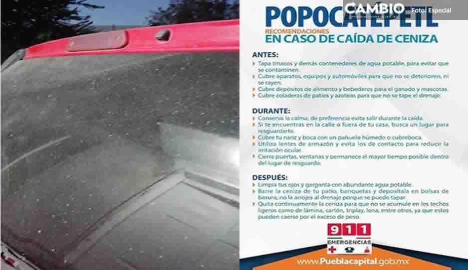 ¡Alerta! Reportan caída de ceniza del Popo en Puebla