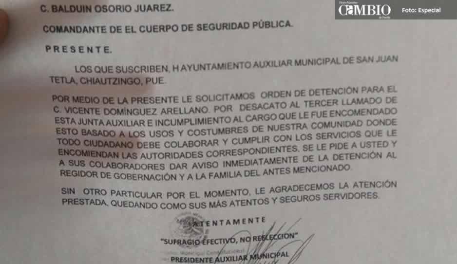 Detienen a habitante de junta auxiliar de Chiautzingo por no realizar funciones de guardia ciudadana