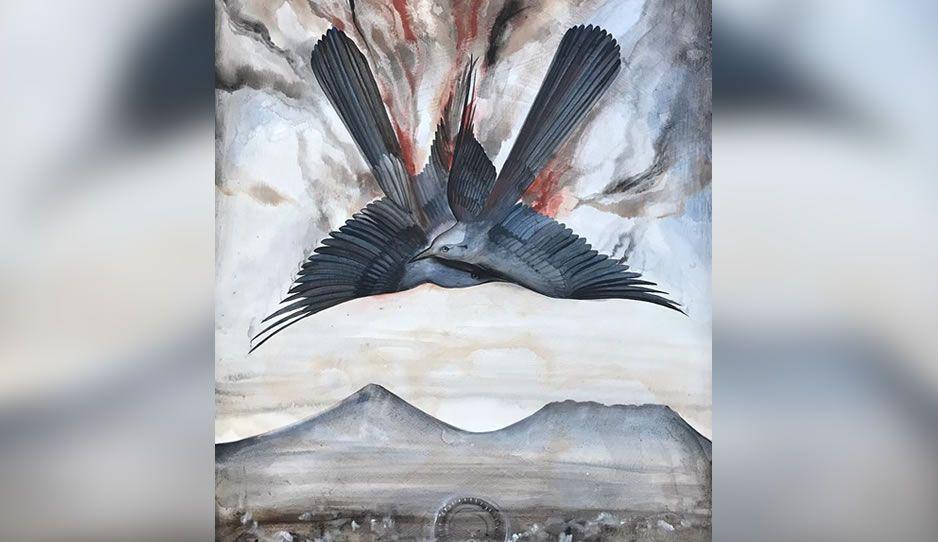 Caída de dos aves azules, la pintura de Esteban Fuentes de María en honor a MEA-RMV ¿Te gusta?