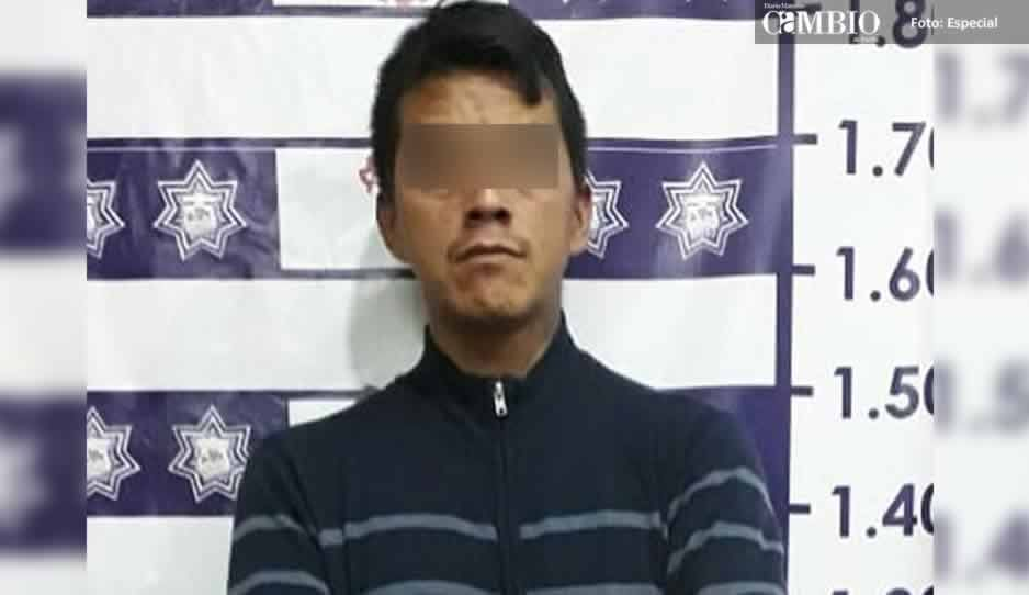 Detienen a sujeto por robo agravado en unidad habitacional de Huejotzingo
