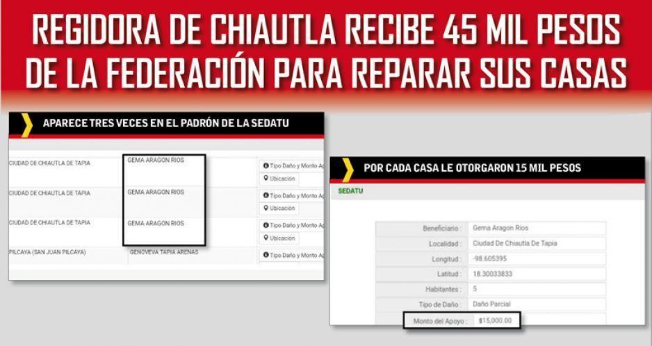 Regidora de Chiautla recibe 45 mil pesos de la Federación para reparar sus casas