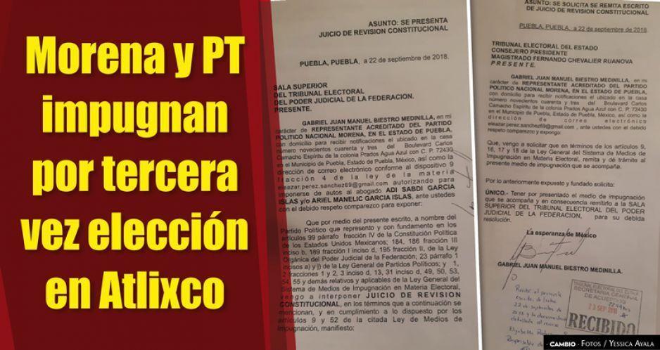 Morena y PT impugnan por  tercera vez elección en Atlixco