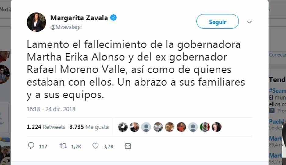 Margarita se suma a las condolencias por la muerte de Martha Erika y Moreno Valle