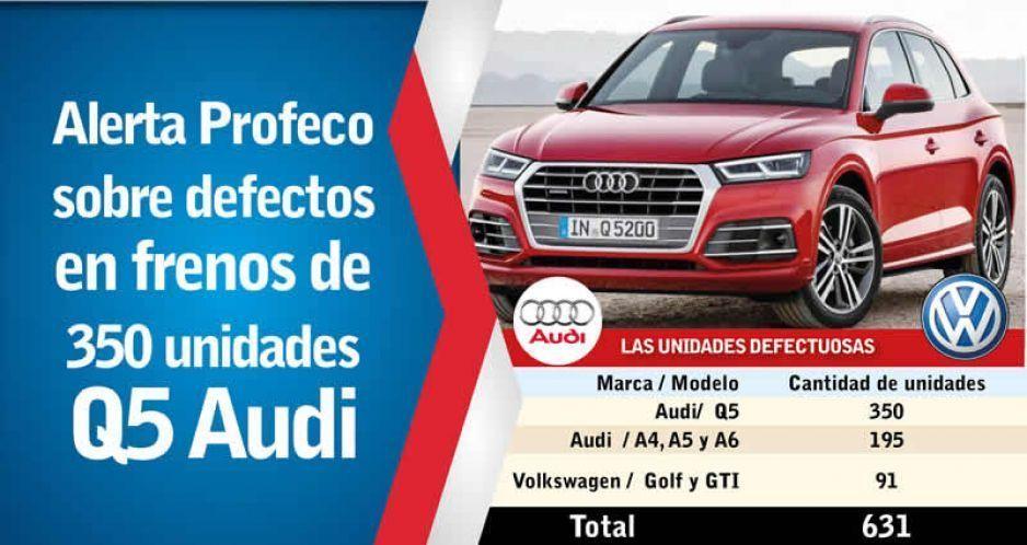 Alerta Profeco sobre defectos en frenos de 350 unidades Q5 Audi