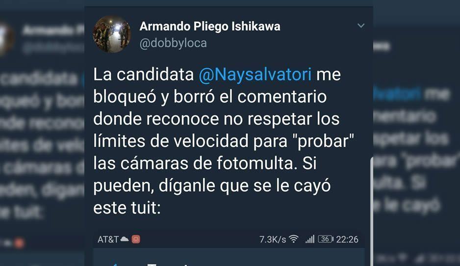 Nay Salvatori bloquea a activista que la cuestiona por tema de las fotomultas
