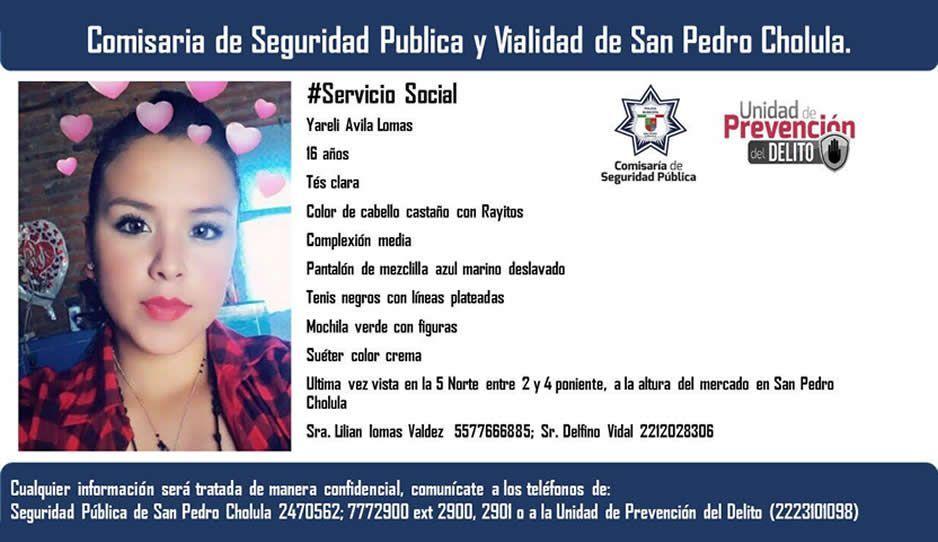 Buscan a Yareli Ávila, desaparecida en San Pedro Cholula ¡Ayúdanos a encontrarla!