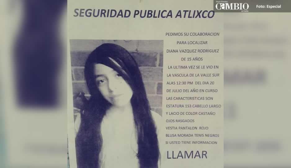 Ayuda a localizar a Diana Vázquez de 15 años, desaparecida en Atlixco