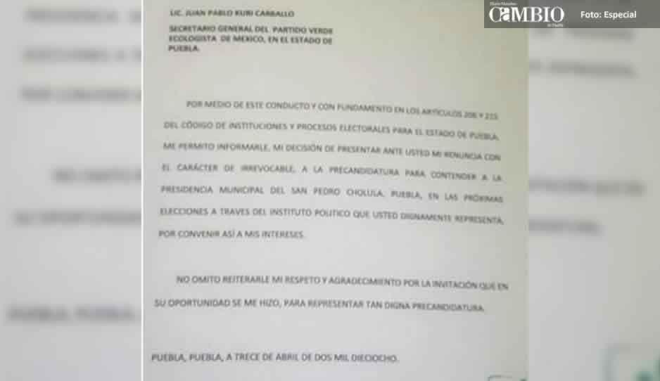 Ex edil de San Pedro Cholula renuncia a candidatura del PVEM