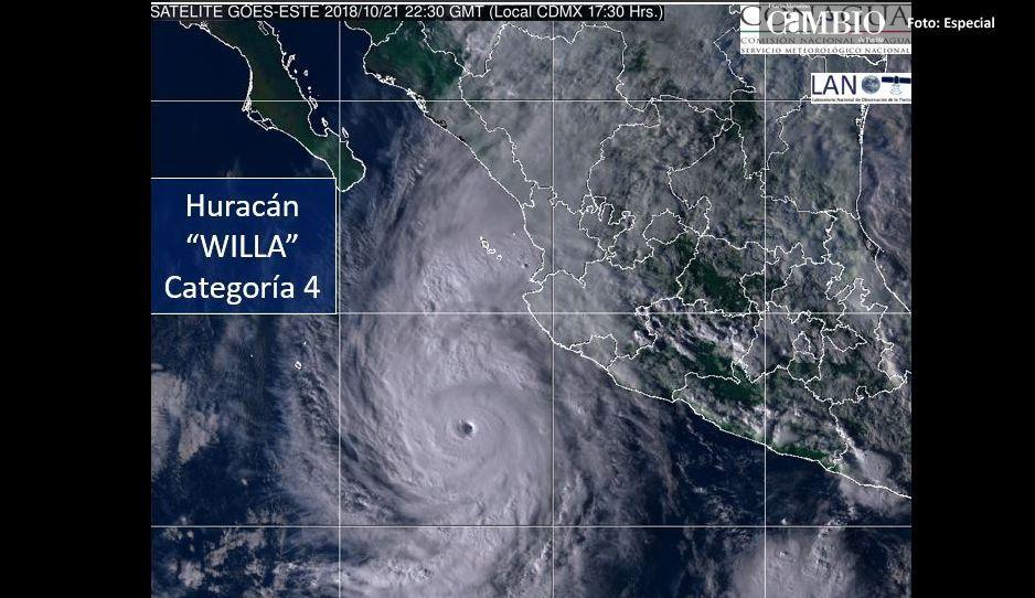 Huracán Willa sube a categoría 4, impactara frente a las costas de Sinaloa, Nayarit, Colima, Michoacán y Jalisco