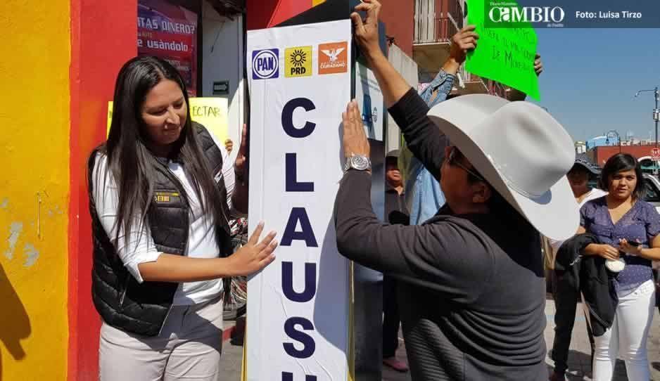 Por ilegales, Ana Cristina Ruiz clausura simbólicamente parquímetros de San Pedro (VIDEO)