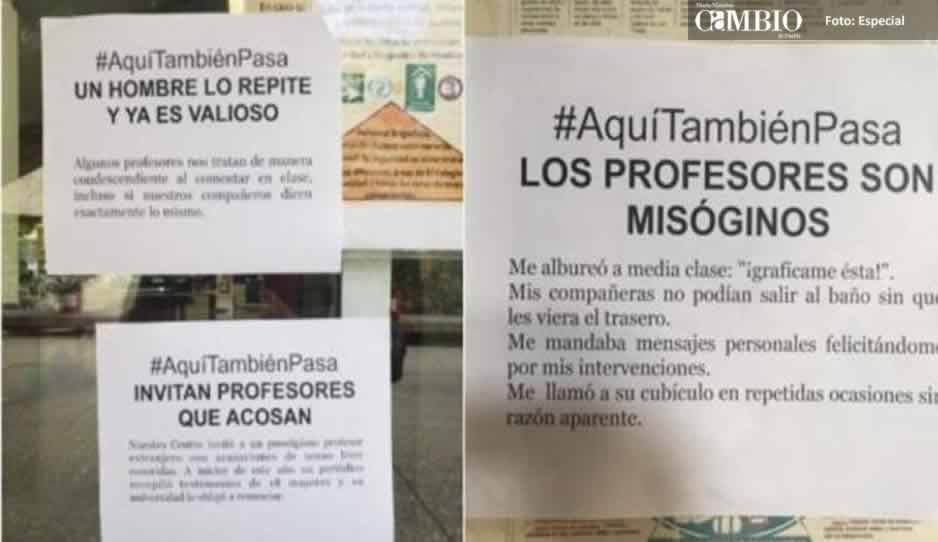 ¡Chécalo! Aalumnas del Colmex denuncian acoso sexual con letreros dentro del plantel