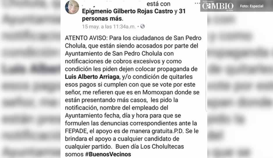 Acusan a Eduardo Zacatelco de hostigar a habitantes para la colocación de lonas