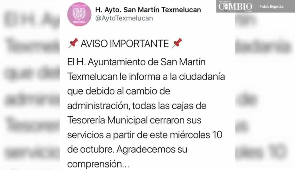 Suspenden servicio en las cajas de la Tesorería de Texmelucan por el cambio de administración