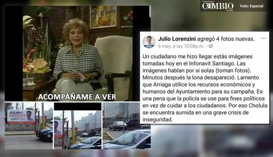 Lorenzini acusa a Arriaga, de utilizar a la policía municipal para retirar sus lonas