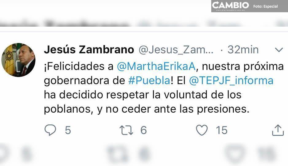 Felicita Jesús Zambrano a Martha Erika tras ratificación del TEPJF