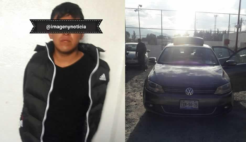 Policías de Texmelucan detienen a sujeto con vehículo robado