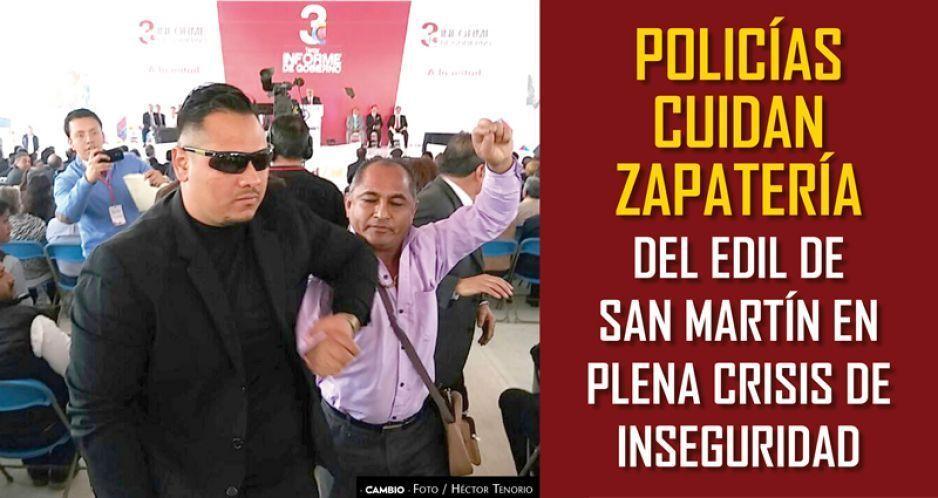 Policías cuidan zapatería del edil de San Martín en plena crisis de inseguridad
