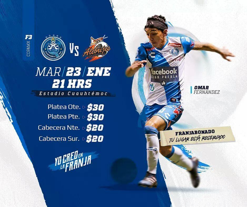 Puebla vs Alebrijes, 23 de enero, Copa Mx — EN VIVO
