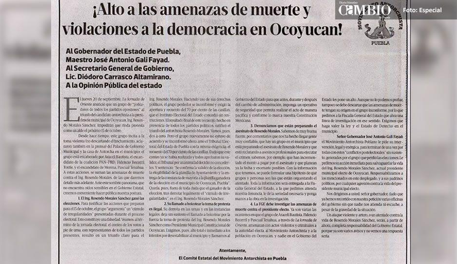 Responsabiliza Antorcha Campesina a Tenahua de cualquier ataque vs alcalde electo de Ocoyucan