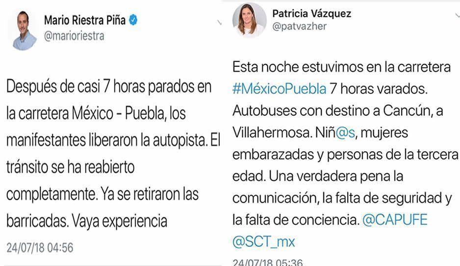 Riestra, Paty y Rafa Núñez entre los varados de la México-Puebla; se quejan de las 8 horas de martirio