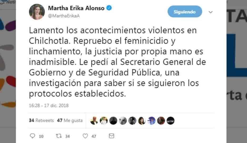 Condena Martha Erika feminicidio 95 y linchamiento en Chilchotla