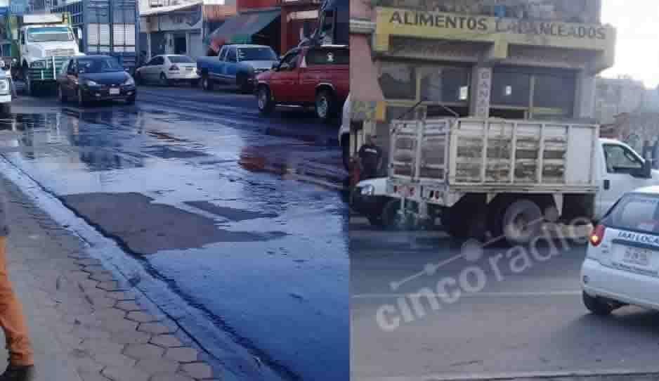 Huachicoleros aplican un Chavo del 8 y dejan regado todo el huachicol mientras pasaban por Texmelucan (FOTOS)