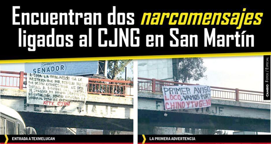 Encuentran dos narcomensajes ligados al CJNG en San Martín