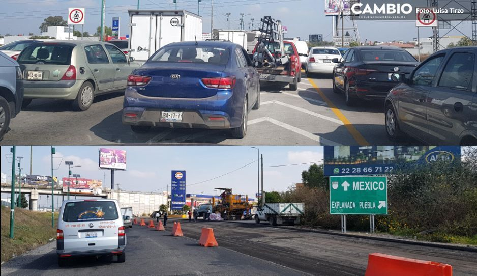 ¡Precaución! Iniciaron obras de reencarpetamiento en el tramo de Cholula y Ocotlán (VIDEO)