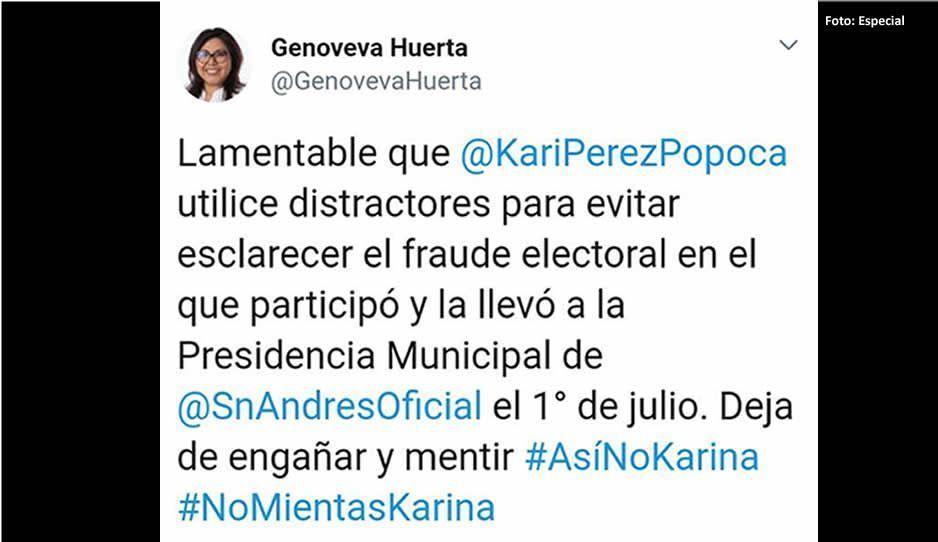 Genoveva Huerta acusa a Karina Popoca de usar distractores para evadir su fraude electoral