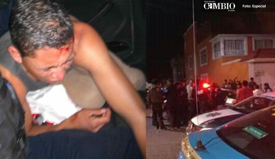 Taxistas justicieros dan cruel golpiza a ladrón que asaltó a su compañero en Texmelucan