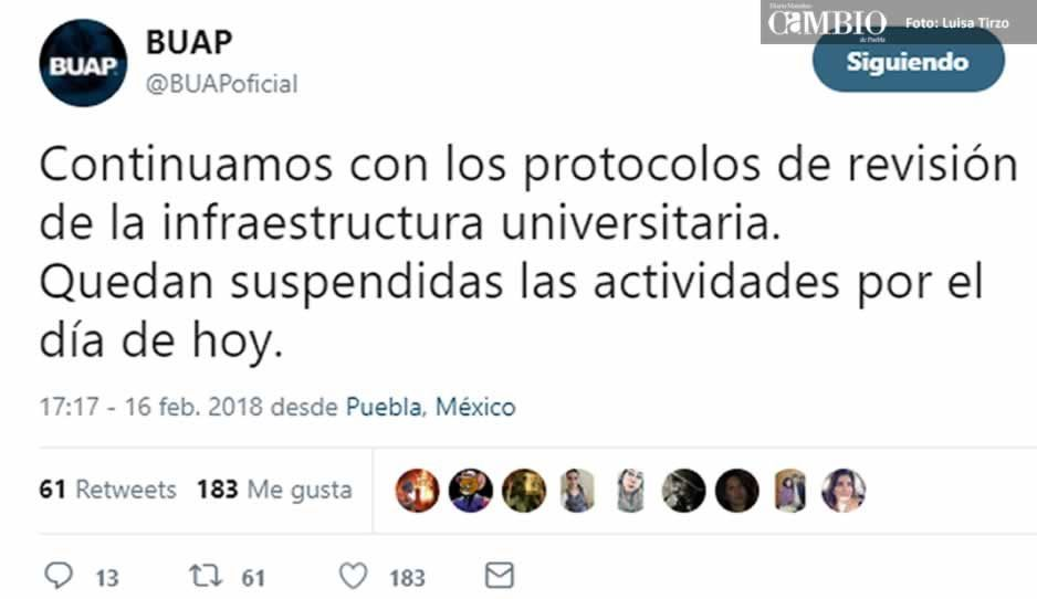 BUAP y universidades privadas suspenden clases tras sismo
