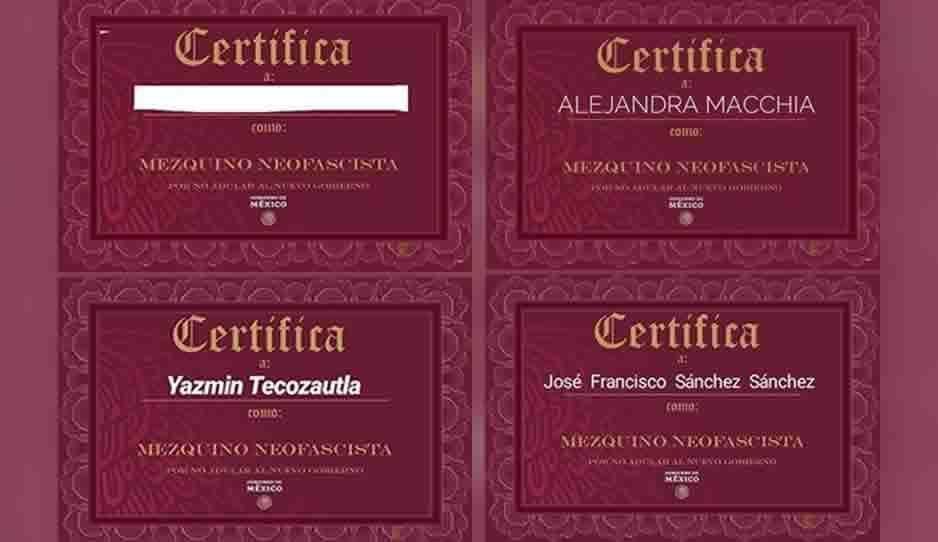 """Crean en internet certificados de """"mezquino neofascista"""" tras insultos de AMLO ¿ya tienes el tuyo?"""